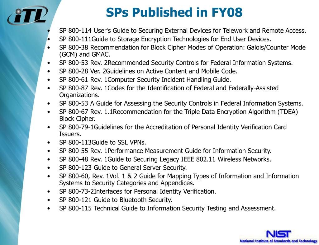 SPs Published in FY08