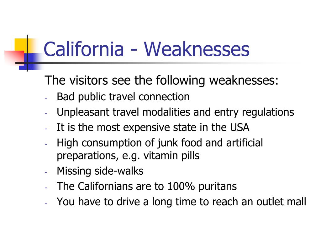 California - Weaknesses