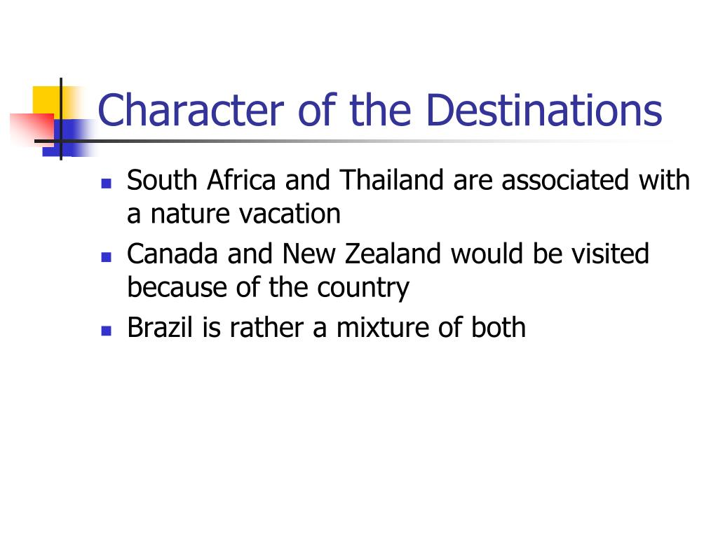 Character of the Destinations