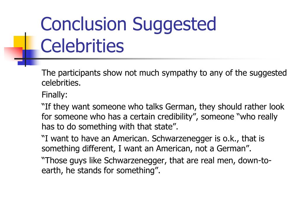 Conclusion Suggested Celebrities