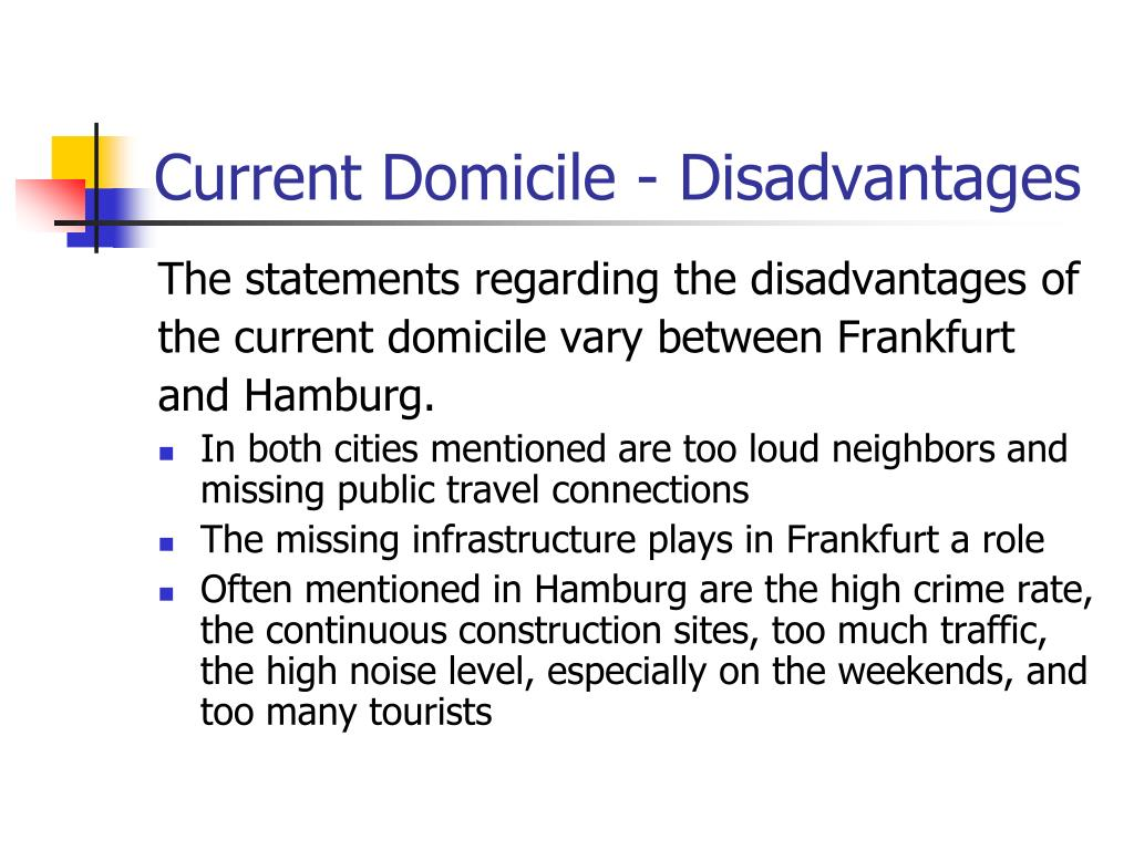Current Domicile - Disadvantages