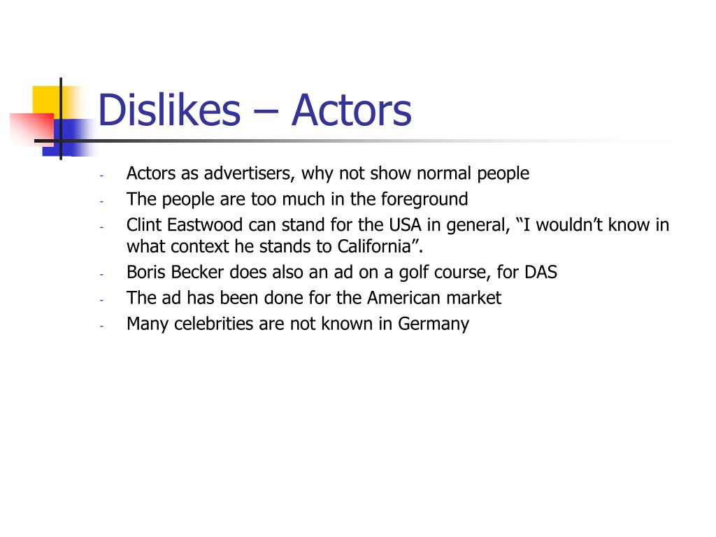 Dislikes – Actors
