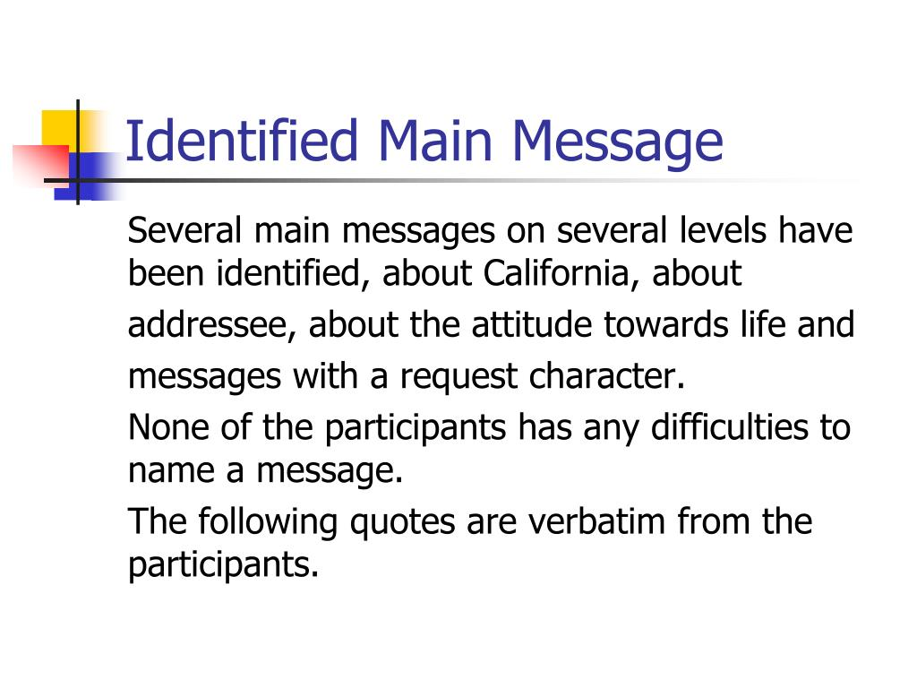 Identified Main Message