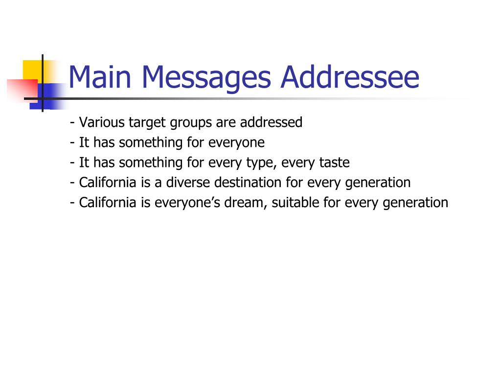 Main Messages Addressee