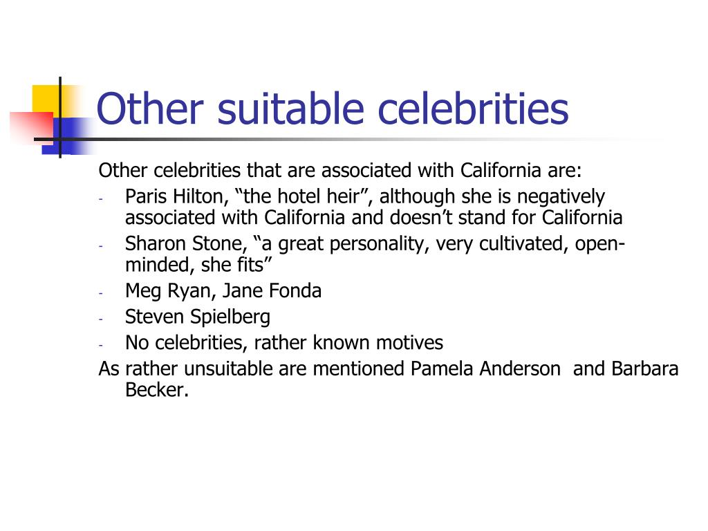 Other suitable celebrities