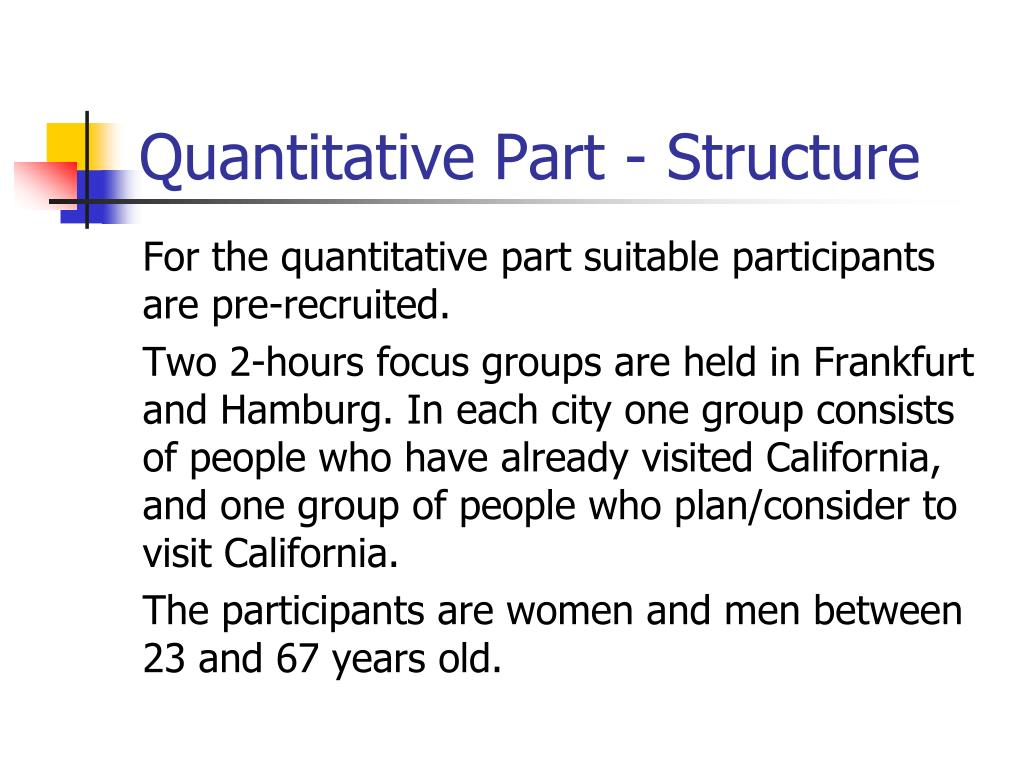 Quantitative Part - Structure