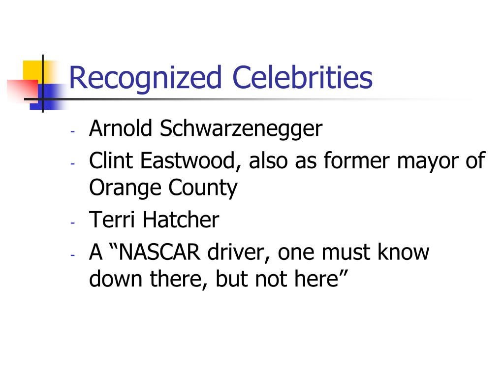 Recognized Celebrities