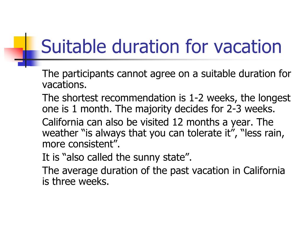 Suitable duration for vacation
