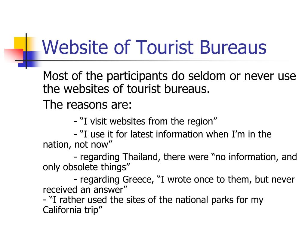 Website of Tourist Bureaus