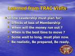 learned from trac visits
