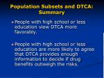 population subsets and dtca summary28