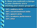9 have you noticed a change in your students since starting your music program