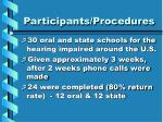 participants procedures