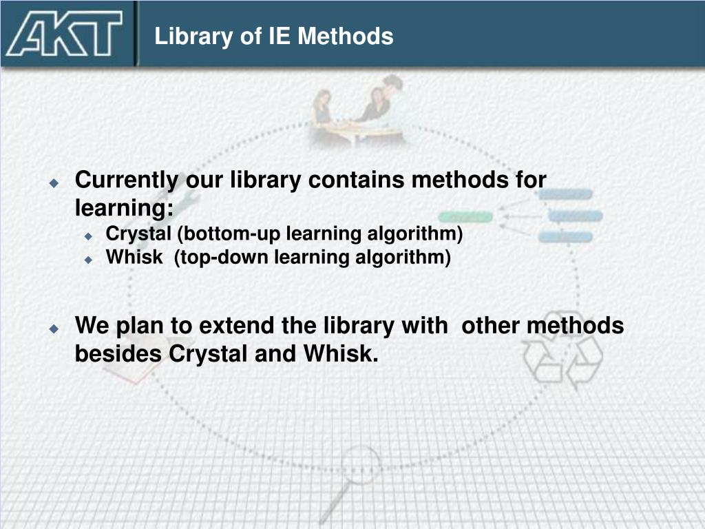 Library of IE Methods