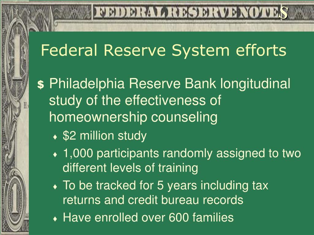 Federal Reserve System efforts