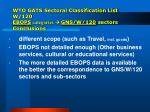 wto gats sectoral classification list w 120 ebops categories gns w 120 sectors conclusions