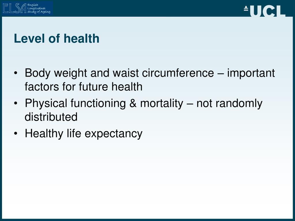 Level of health