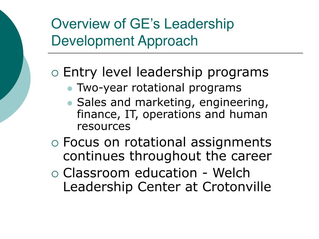 Overview of GE's Leadership Development Approach