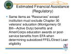 estimated financial assistance regulatory