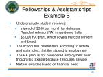 fellowships assistantships example b