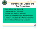 handling tax credits and tax deductions