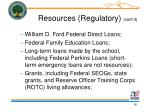 resources regulatory cont d