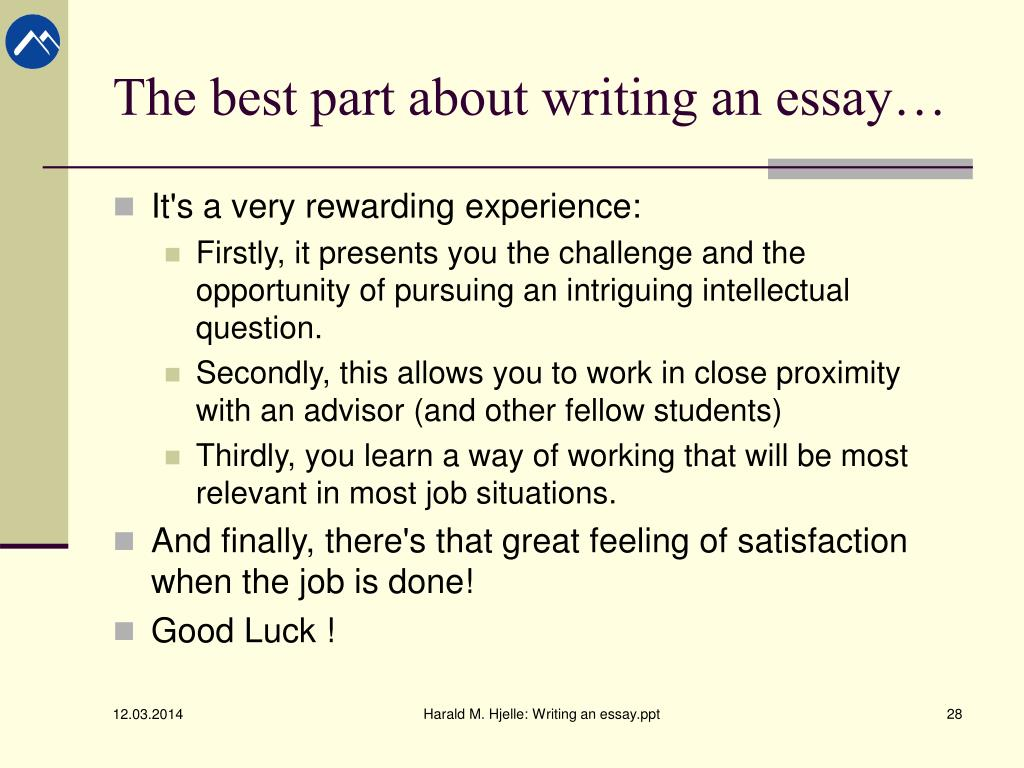 powerpoint on writing an essay Writing an essay (adapted from ruth luman: modesto junior college)- authorstream presentation.