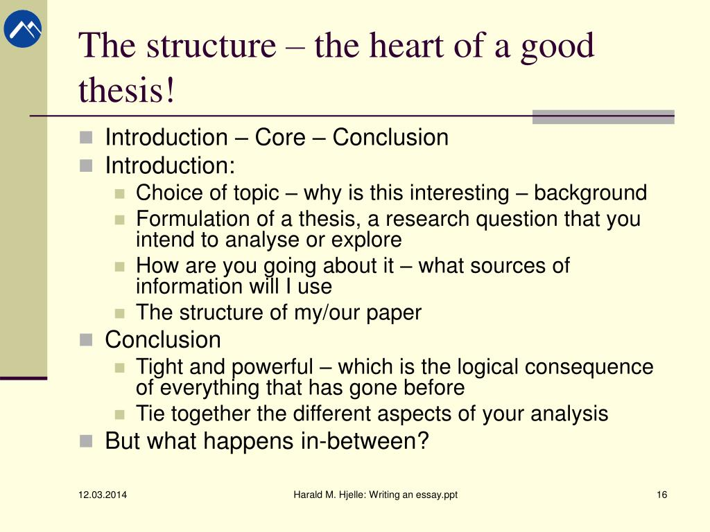 structure of a thesis driven essay
