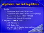 applicable laws and regulations