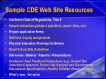 sample cde web site resources