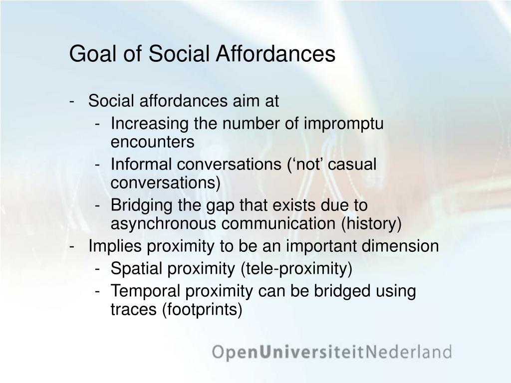 Goal of Social Affordances