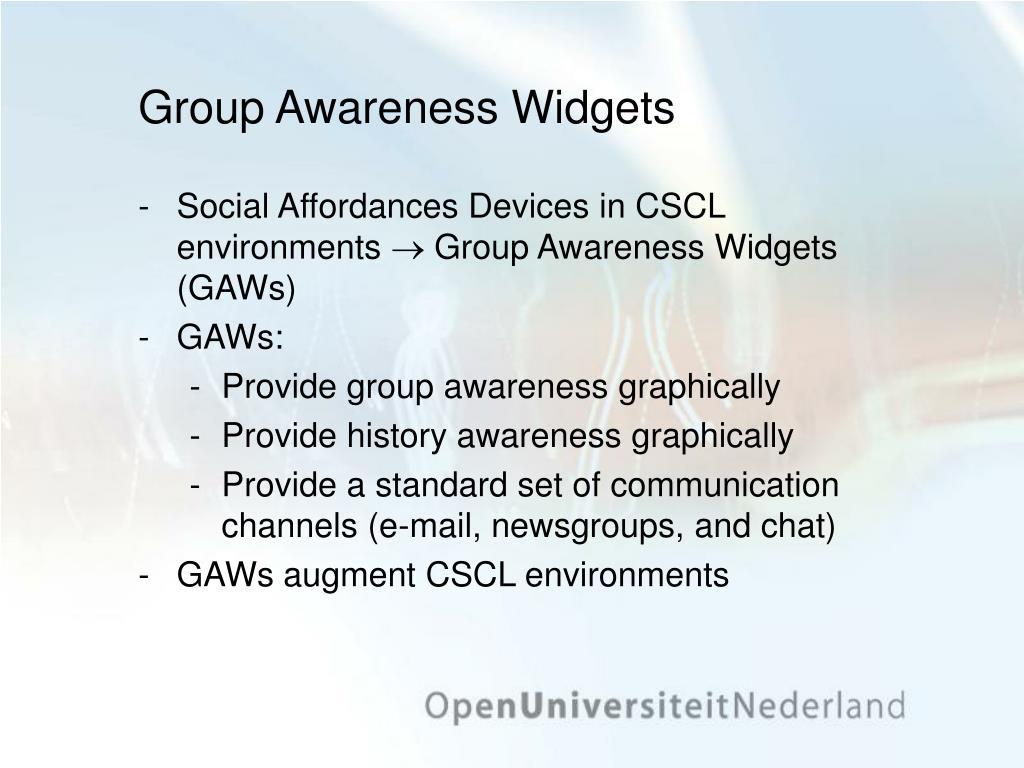 Group Awareness Widgets