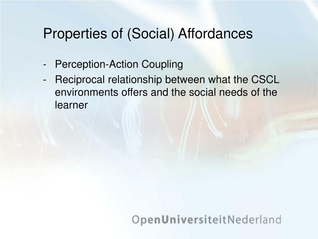 Properties of (Social) Affordances