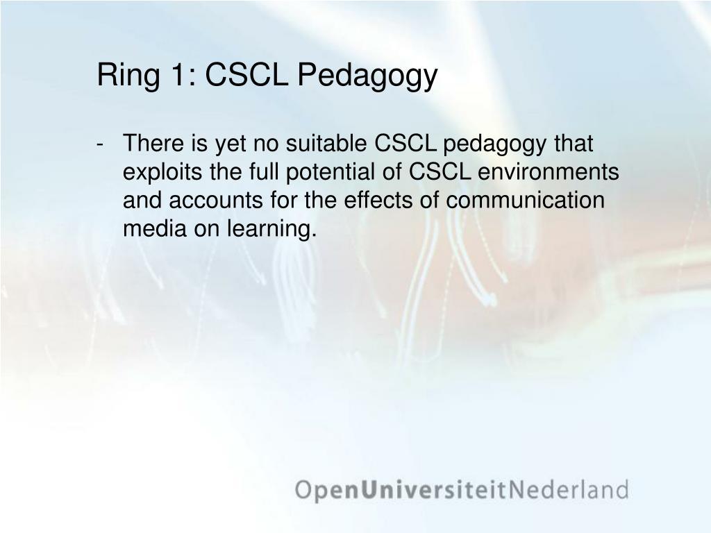 Ring 1: CSCL Pedagogy