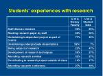 students experiences with research