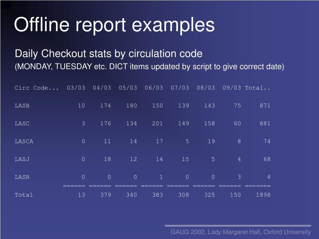 Offline report examples
