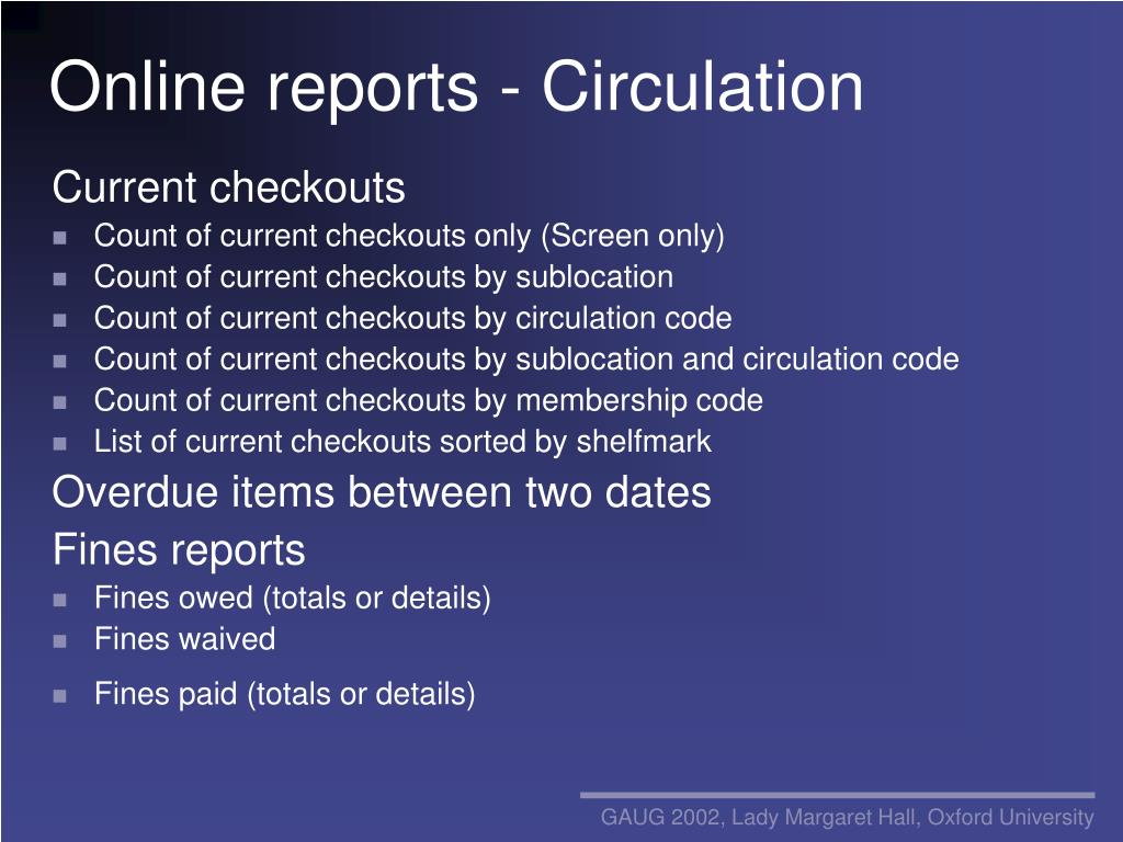 Online reports - Circulation