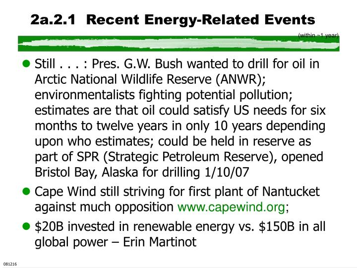 2a.2.1  Recent Energy-Related Events