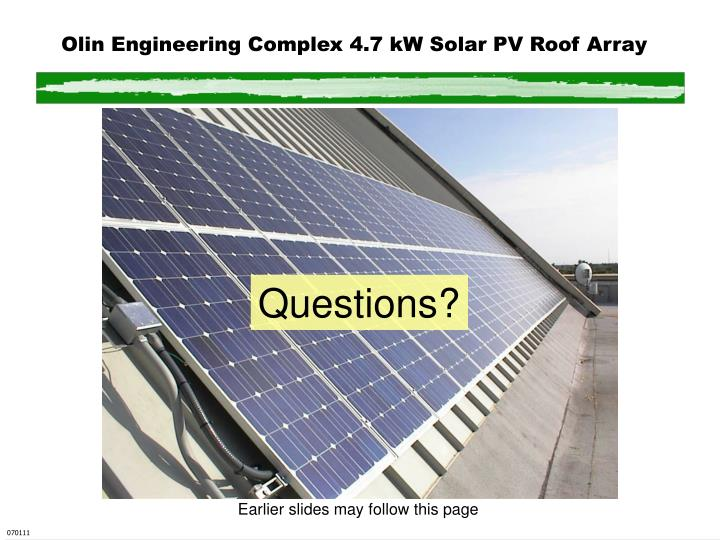 Olin Engineering Complex 4.7 kW Solar PV Roof Array