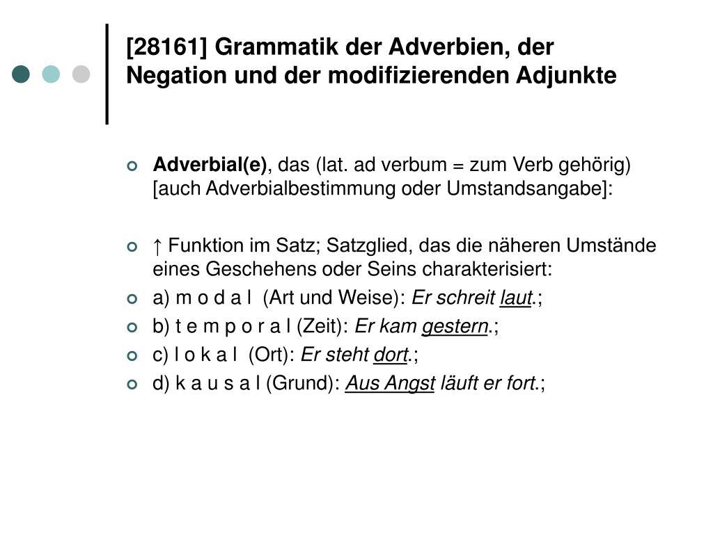 [28161] Grammatik der Adverbien, der Negation und der modifizierenden Adjunkte