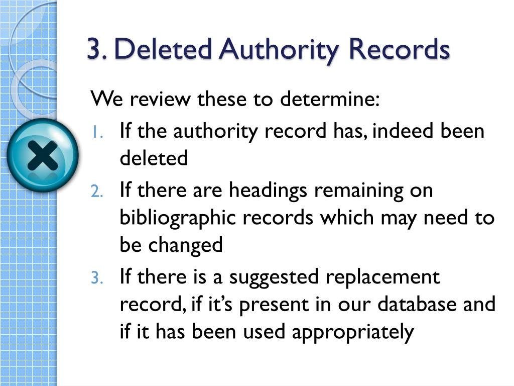 3. Deleted Authority Records