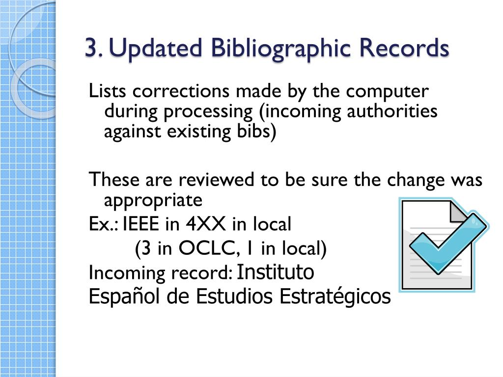 3. Updated Bibliographic Records