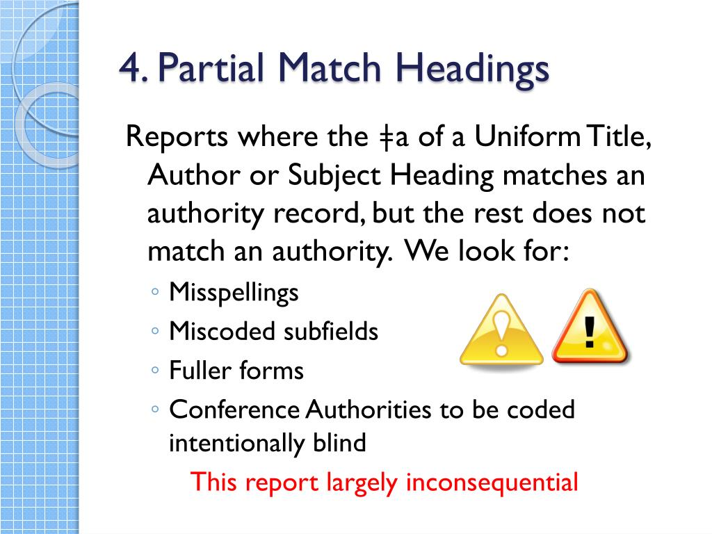 4. Partial Match Headings