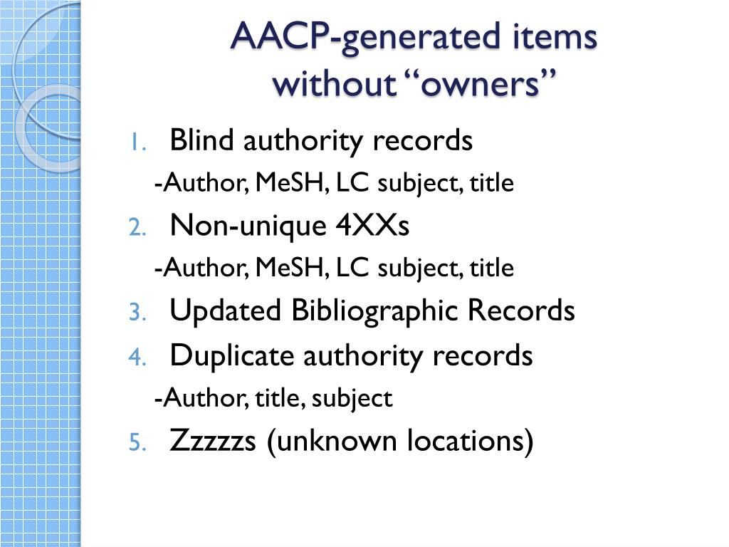 AACP-generated items