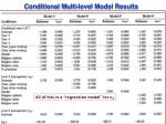conditional multi level model results