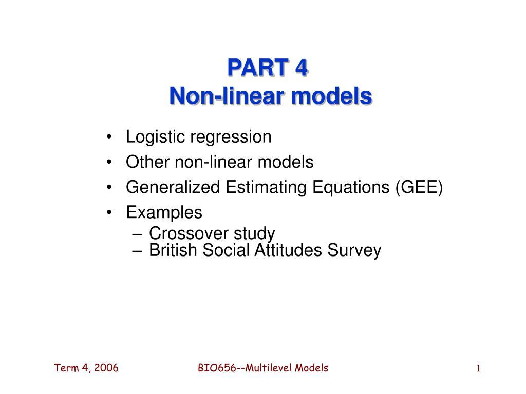 part 4 non linear models