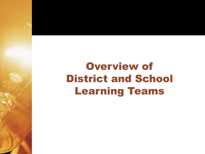 Overview of district and school learning teams