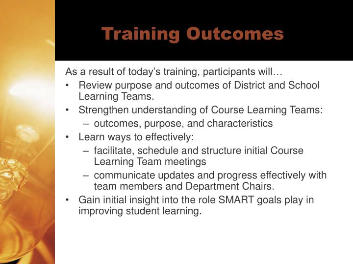 Training outcomes