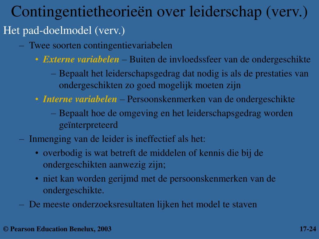 Contingentietheorieën over leiderschap (verv.)