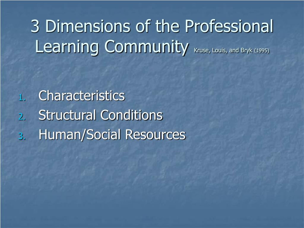 3 Dimensions of the Professional Learning Community
